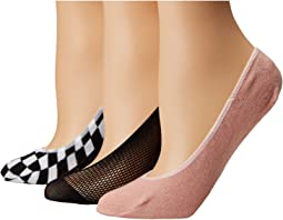 Steve Madden 3-Pack Footie Mesh with Check