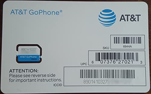 AT&T SIM Card, Compatible with Prepaid (GoPhone) and Postpaid AT&T Cellular Service (Nano)