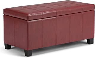 Simpli Home AXCOT-223-RRD Dover 36 inch Wide Contemporary  Storage Ottoman in Radicchio Red Faux Leather