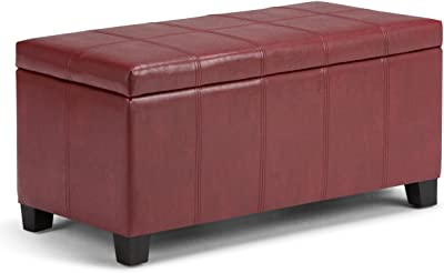 Simpli Home Dover 36 inch Wide Contemporary Rectangle Storage Ottoman Bench in Radicchio Red Faux Leather