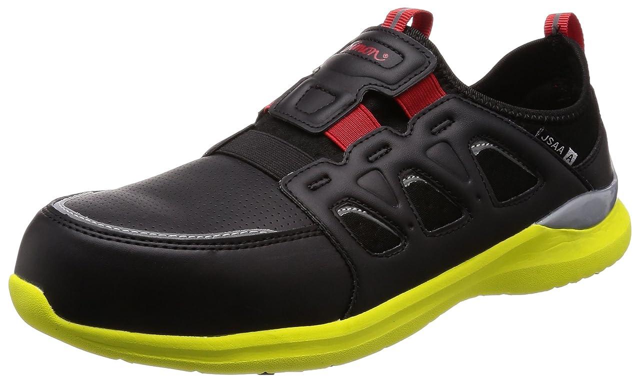 裸全員置き場[シモン] プロスニーカー 短靴 JSAA規格 耐滑 軽快 スニーカー スリッポン 反射 KL517黒/イエロー