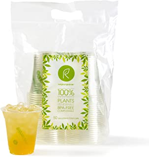 Repurpose 100% Compostable Plant Based Clear Cold Cup   12 Ounce Party Cups   150 Cups
