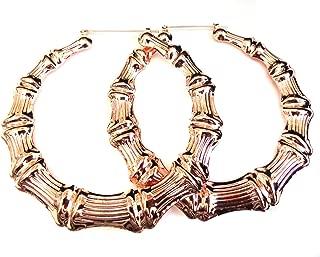 Large Rose Gold Hoop Earrings Plated Bamboo Hoop Earrings 4 inch Hoops