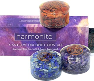 5g emf Protection Gift Set of 4 Orgonite Healing Crystals (Amethyst, Red Jasper, Rose Quartz, Lapis Lazuli) for Meditation, Plant Growth, Restful Sleep, Selfcare, Relaxation, Addiction Recovery