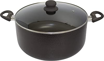 IMUSA USA 10Qt Nonstick Hammered Exterior Dutch Oven with Glass Lid