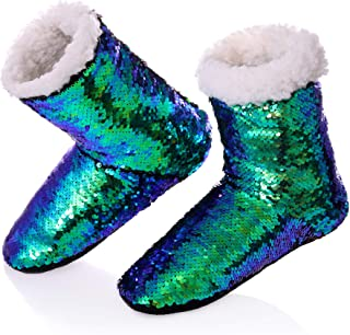 RONGBLUE Women's Christmas Reversible Sequin Slippers Socks Soft Warm Fleece Lining Non-Slip Shoes Winter Boots