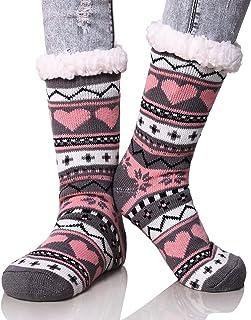 Fuzzy Cute Slipper Socks for Women Girls Reindeer Home Floor Soft Warm Fluffy Cozy Winter Christmas Socks