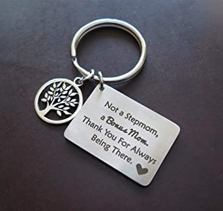Stepmother Mother's Day Gift,Not a Stepmom a Bonus Mom Thank You For Always Being There keychain,Stepmom keychain