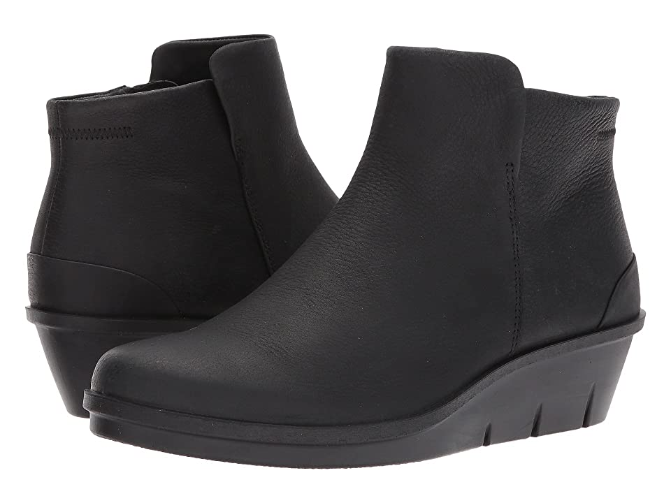 ECCO Skyler Wedge Bootie (Black Cow Nubuck) Women's Boots