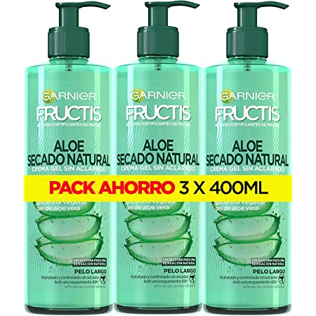 Garnier Fructis Pack Crema de Peinado Sin Aclarado Aloe Secado Natural, Hidrata y Controla Sin Secador, Para Cabello Largo, Sin Silicona, 3 x 400 ml