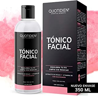 Tónico Facial con Agua de Rosas + Vitamina B5 + Niacinamida- 350ml- Sin Fragancia-Sin Alcohol Etílico-97% Ingredientes Nat...