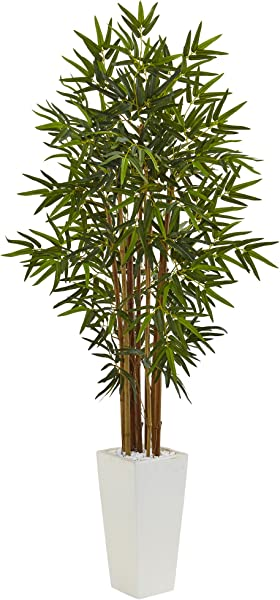 Nearly Natural 5 Bamboo Artificial Tree In White Tower Planter Green