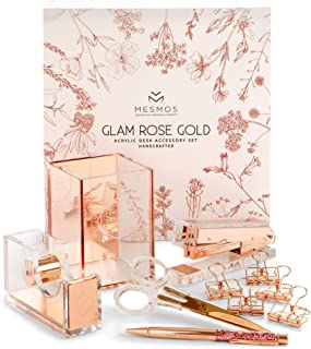 Desk Accessories Rose Gold & Stylish Office Supplies Set, 10-Piece Desk Set Organizer for Women's Rose Gold Office Decor at Work or Home -Comes with Cute Stapler, Pen Holder, Scissors & Tape Dispenser