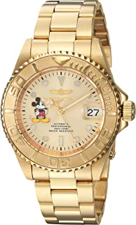 Invicta Men's Disney Limited Edition Automatic-self-Wind Watch with Stainless-Steel Strap, Gold, 9 (Model: 22779