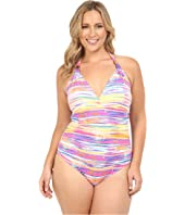 LAUREN Ralph Lauren - Plus Size Summer Tie-Dye Stripe Halter Mio w/ Slimming Fit & Removable Cups