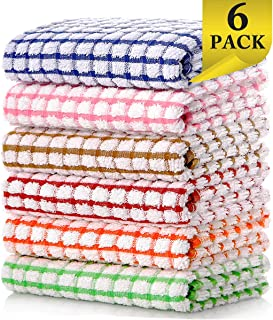LAZI Kitchen Dish Towels, 16 Inch x 25 Inch Bulk Cotton Kitchen Towels Set, 6 Pack Dish Cloths for Washing Dishes Dish Rags for Drying Dishes Kitchen Wash Clothes and Dish Towels