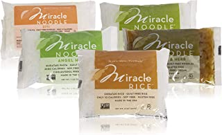 Miracle Noodle Shirataki Ziti, Fettuccini, Angel Hair, Garlic & Herb, & Rice Variety Pack, Gluten-Free, Zero Carb, Keto, Vegan, Soy Free, Paleo, Blood Sugar Friendly, 7oz (Pack of 5)