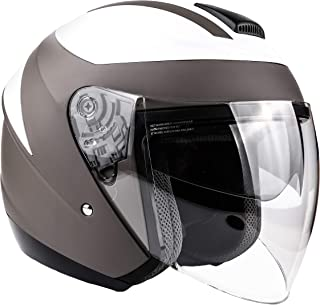 Typhoon 3/4 Helmet With Face Shield & Retractable Sun Visor DOT Motorcycle Scooter Moped Cruiser - Gray White - XXL