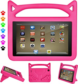 F i r e 7 2017/2015 Kids Case, Roasan Shockproof Protection Stable Stand Super Light Weight Durable Material F i r e 7 inch Display (7th Gen/5th Gen) (Pink)