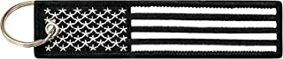 Flag Keychain Tag with Key Ring, EDC for Motorcycles, Scooters, Cars and Gifts (USA Black and White)
