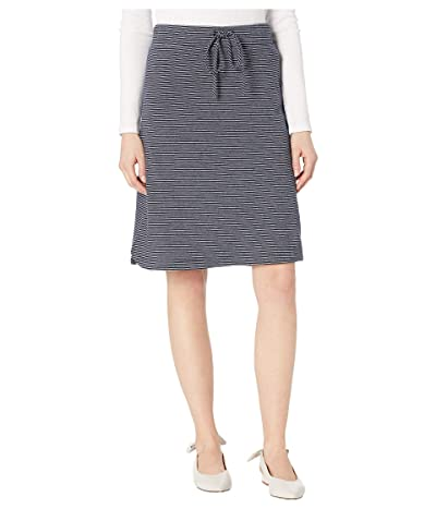 Mod-o-doc Double Stripe Jersey Pull-On Skirt (Navy) Women