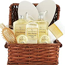Deluxe Spa Gift Basket, Bath and Body Set for her Birthday Perfect Gift Set For Woman All-Natural Spa Treat Gift Basket (Clean Getaway Basket)