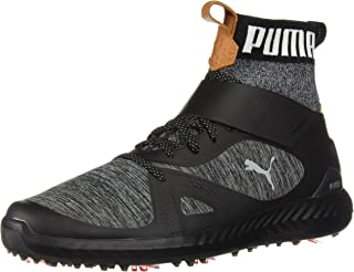 PUMA Golf Men's Ignite Pwradapt Hi-Top Golf Shoe, Black/Silver, 10.5 Medium US