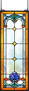 Happy Living Time Extra Large Transom Window 28 Inch Tiffany Style Victorian Stained Glass Window Panels Hanging (10