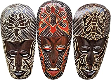 All Seas Imports Gorgeous Set of (3) Hand Chiseled Wood African Style Wall Decor Masks with Unique Butterfly & Turtle Designs