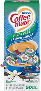 Nestle Coffee mate Coffee Creamer, Sugar Free French Vanilla, Liquid Creamer Singles, Non Dairy, No Refrigeration, Box of ...