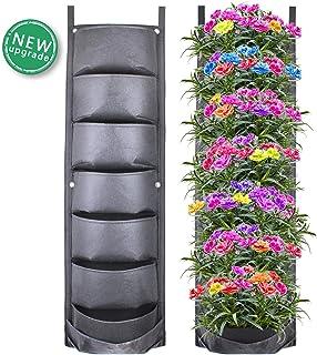 CNNIK Bolsas para Plantas, 7 Bolsillos Plantador Vertical del Crecimiento, Colgar en la Pared Bolsas de Plantación, para Jardín Balcón Oficina Decoración, Nuevo