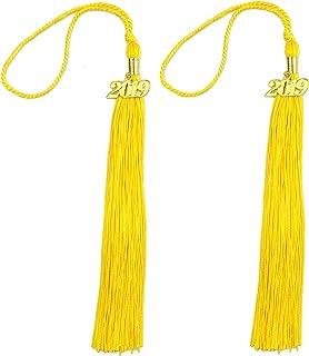 Makhry 2pcs 15.7 inches/41cm Handmade Silk Graduation Honor Tassel with 2019 Year Charm for Graduation Cap,Graduation Gift,Souvenir (2, Gold)