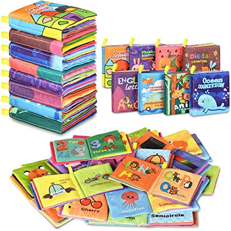 With Crinkly Sounds Cloth Baby Books Set Non-Toxic Soft Cloth Book For Infants Educational Toys First Year Touch And Feel For Babies Baby Books 0-6 Months 1 Year old 12-18 Months 2+6 Pack