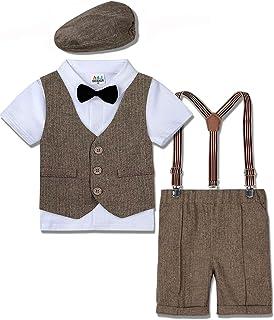 mintgreen Trajes para Niños Gentleman Conjunto 4 Piezas Camisa Manga Corta con Pajarita + Chaleco + Pantalones de Tirantes...