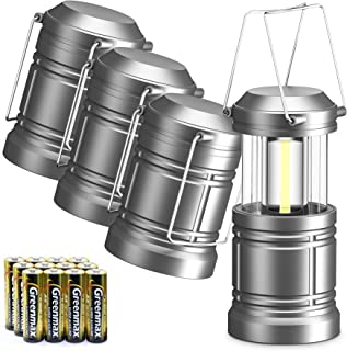 WdtPro 4 Pack Camping Lantern with 12 AA Batteries, 500LM Ultra Bright LED Lanterns, Magnetic, Collapsible, Waterproof Lan...