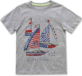 CUNYI Little Boys Super Soft Cotton T-Shirt Short Sleeve Graphic Tee Summer Tops
