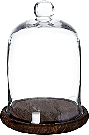MyGift Clear Glass Jar, Cloche Dome Display Centerpiece with Brown Wood Base