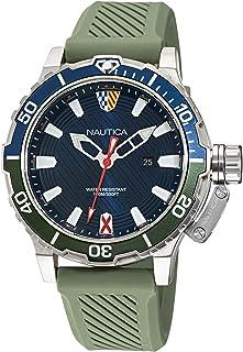 ساعة نوتيكا للرجال ستانلس ستيل كوارتز بسوار من السيليكون، اخضر، 22 كاجوال موديل NAGLS113