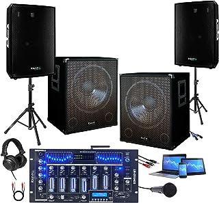 ENSEMBLE SONO PACK 3000W AVEC 2 CAISSONS AMPLIFIES + ENCEINTES + TABLE DE MIXAGE PRO + CABLAGE idéal sonorisation grands e...
