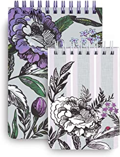 Vera Bradley Spiral Jotter Notepad Set with 1 Large Notepad and 1 Small Notepad, Lavender Meadow