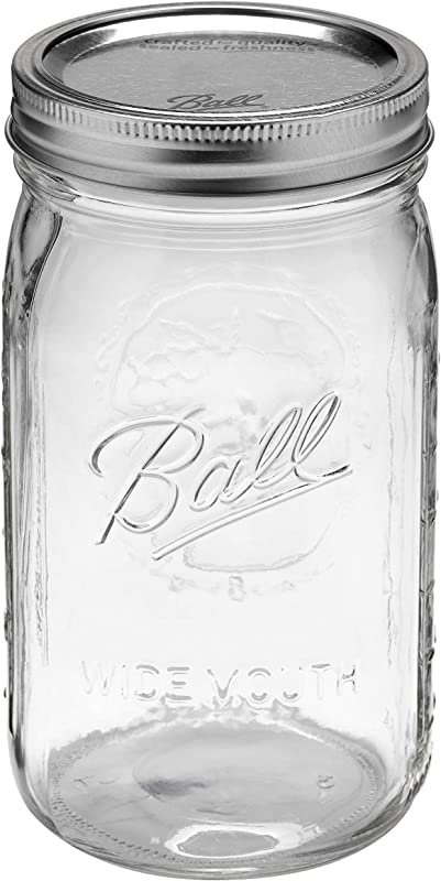 Ball Glass Mason Jar W Lid Band Wide Mouth 32 Ounces 12 Count 4 Pack