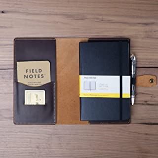 Leather Cover for Moleskine Large Hard and Soft Cover/Handmade in the US with American Full Grain Leather