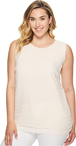 Plus Size Sleeveless Sheer Embroidered Stripe Blouse