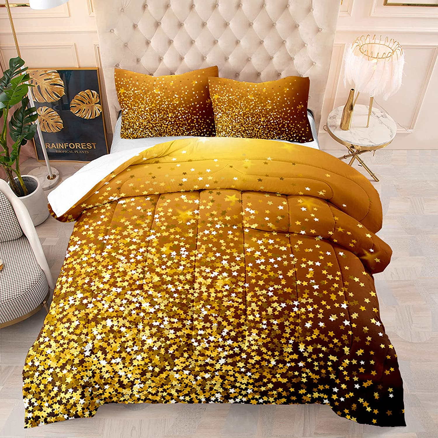 Gold Bling Stars Comforter Set Twin Size Golden Super sale Piece Glitter Free Shipping New 2
