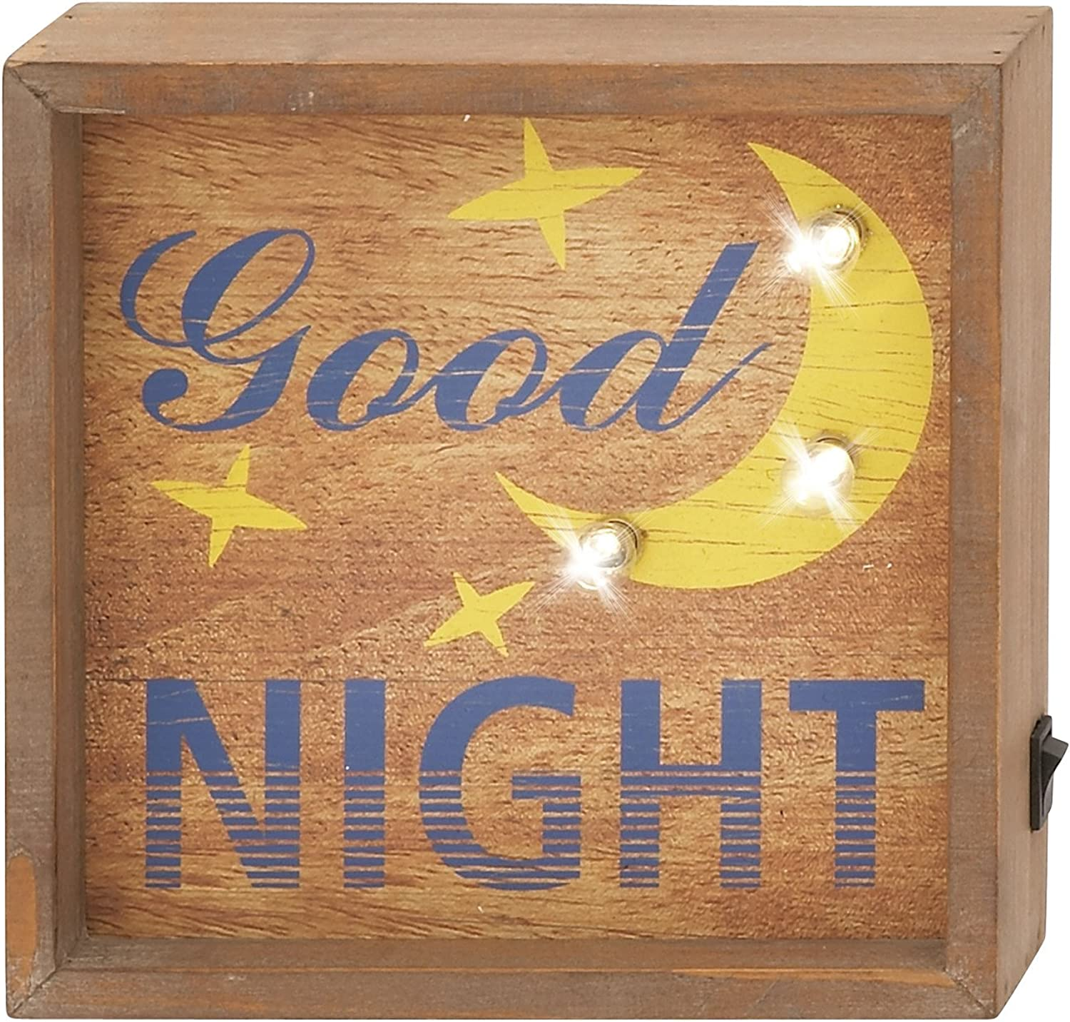 Benzara 87429 Stunning Wood Led Wall Sign, 8-Inch Wx8-Inch H