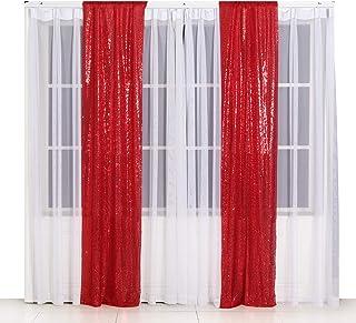 Poise3EHome Pailletten Fotografie Vorhang, 2 Paneele für Party Dekoration, 60 x 240 cm, Rot