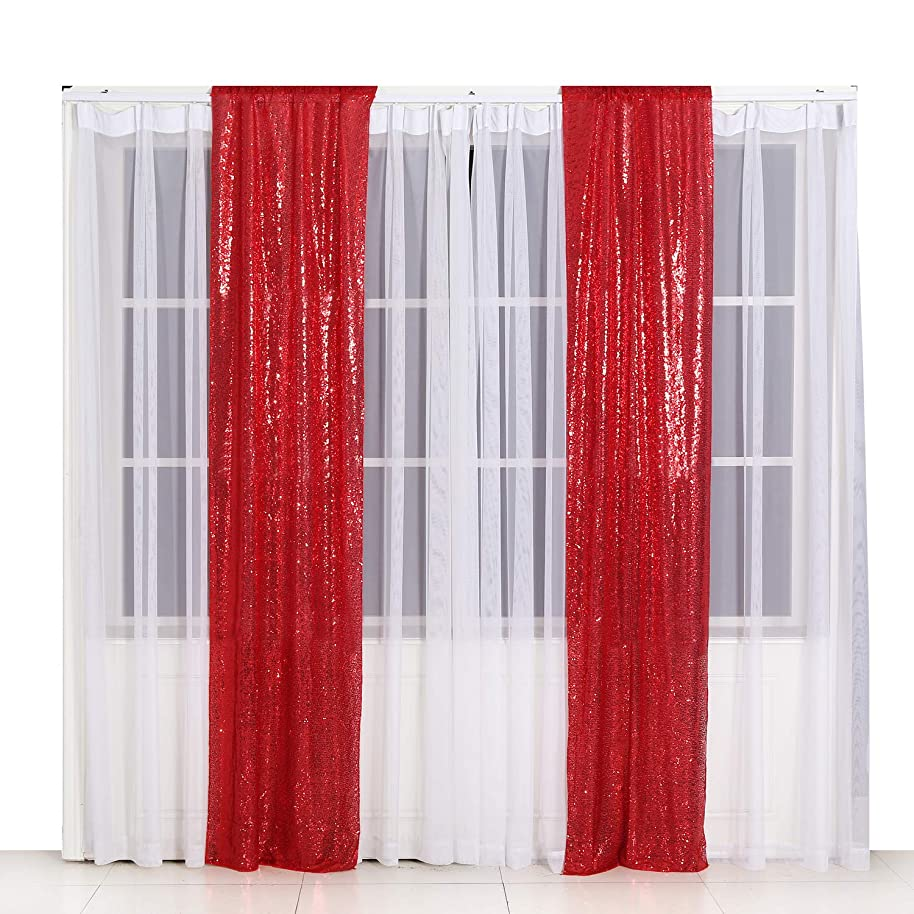 Poise3EHome 2ft x 8ft Sequin Photography Backdrop Curtain 2 Panels for Party Decoration, Red