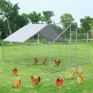 Giantex Large Metal Chicken Coop Walk-in Chicken Coops Run House Shade Cage with Waterproof and Anti-Ultraviolet Cover for Outdoor Backyard Farm Use (13 x 13ft)