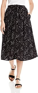 Women's Star Printed Midi Skirt with Tie Waist