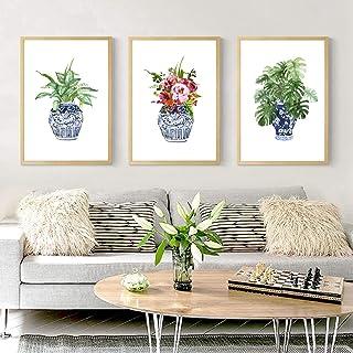 "Art Print Ginger Jar Blue White Porcelain Ming Vase Wall Art Canvas Painting Poster Floral Decor 3 pcs 50x70 cm/19.7"" x 2..."